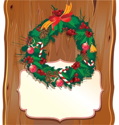 Christmas garland on wooden background vector image