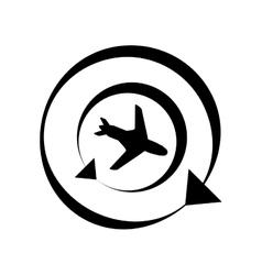 Outline worldwide traveling tourist plane vector