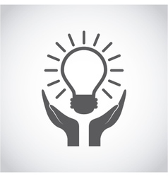 Hands and bulb light icon vector