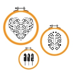 Needlework design on embroidery hoops vector