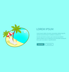 Leisure on tropical seacoast web banner vector