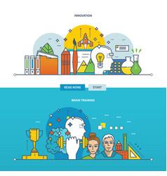 Innovation new ideas and brain training vector