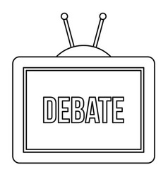 Tv debate icon outline style vector
