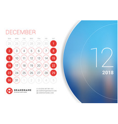 December 2018 desk calendar for 2018 year vector