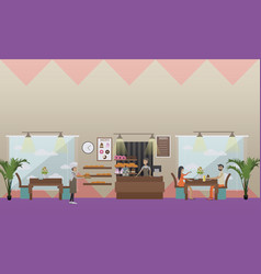 Set of bakery and candy store flat style vector