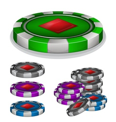 Casino chips with diamonds sign vector