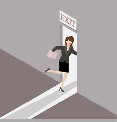 Business woman runs to the exit door vector