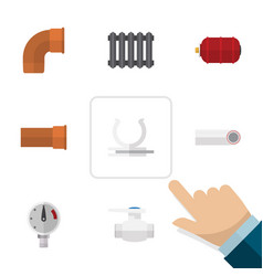 Flat icon industry set of heater drain conduit vector