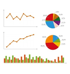 Charts statistics and pie diagram vector