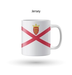 Jersey flag souvenir mug on white background vector