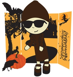 girl in Halloween vector image