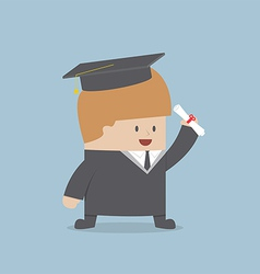 Businessman graduate in gown and graduation cap vector