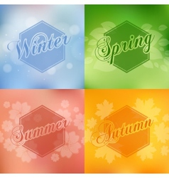 Stylish 4 season cards design vector