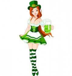 St Patrick's day girl vector image