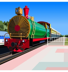Bright vintage steam locomotive standing vector