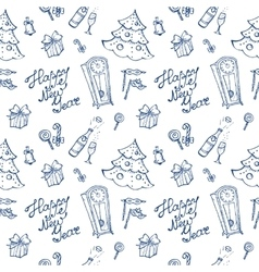 doodle New Year elements seamless pattern vector image