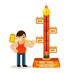 Strongman and test your strength game vector image