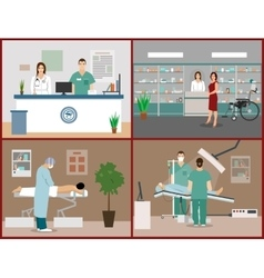 Banners set with patients doctors and vector