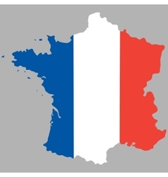 Map of france with an official national flag vector