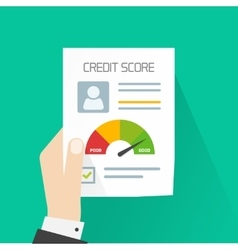 Credit score document concept hand holding vector