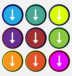 Arrow down download load backup icon sign nine vector