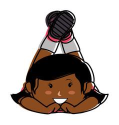 black little girl lying character vector image vector image