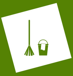 Broom and bucket sign white icon obtained vector