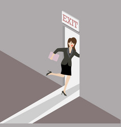 Business woman runs to the exit door vector