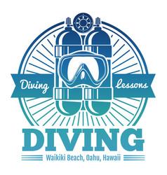 Color diving club emblem or logo vector