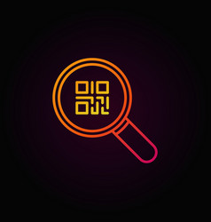 Colorful qr code in magnifying glass icon or vector