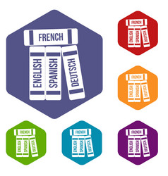 dictionaries icons set vector image