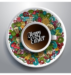 Easter doodles with a cup of vector