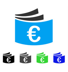 Euro checkbook flat icon vector