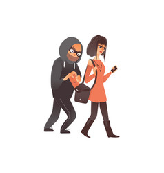 Flat burglar stealing wallet form handbag vector