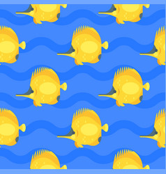 flat style seamless pattern with yellow fish vector image