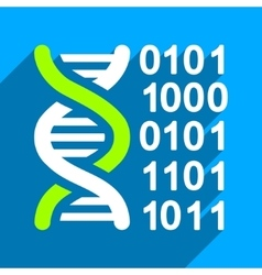 Genome Code Flat Square Icon with Long Shadow vector image