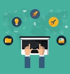Hand with laptop online marketing website tool vector