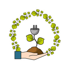 Hand with power cable with leaves and ground vector