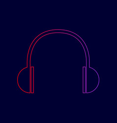 headphones sign line icon vector image vector image