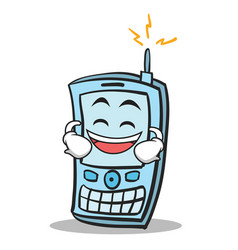 Laughing face phone character cartoon style vector