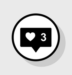 Like and comment sign flat black icon in vector