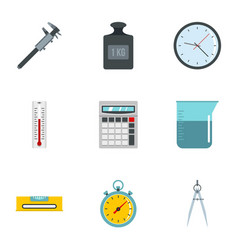Measure tools icon set flat style vector