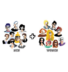 men and women group people isolate on white vector image vector image