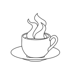 Monochrome contour with hot cup of coffee serving vector