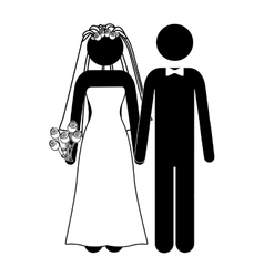 Pictogram of wedding couple with costumes vector
