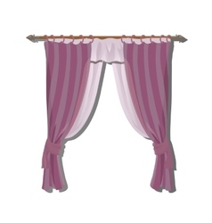 Pink kitchen curtains on the ledge decor vector