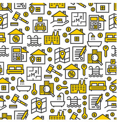Real estate icons pattern vector