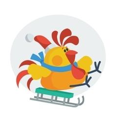 Rooster bird skate on sledge cock in santa s hat vector