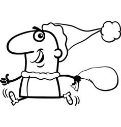 running santa claus coloring page vector image vector image