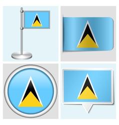 Saint Lucia flag - sticker button label vector image vector image